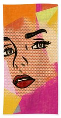 Hand Towel featuring the mixed media Pop Art Comic Woman by Dan Sproul