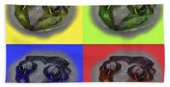 Pop Art Frog Face Hand Towel by Carol F Austin