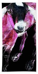 Pop Art Goat - Pink - Sharon Cummings Hand Towel by Sharon Cummings