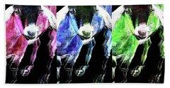Pop Art Goats Trio - Sharon Cummings Hand Towel by Sharon Cummings