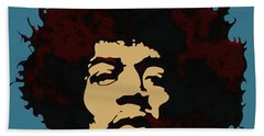 Bath Towel featuring the digital art Pop Art Jimi Hendrix by Joy McKenzie