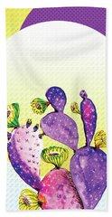 Pop Cacti - Purple Yellow Hand Towel