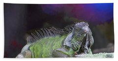 Hand Towel featuring the painting Pop Iguana Edition 2 by Judy Kay