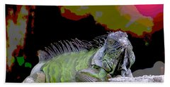 Hand Towel featuring the painting Pop Iguana by Judy Kay
