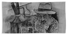 Popcorn Sutton - Black And White - Waiting On Shine Bath Towel