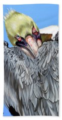 Bath Towel featuring the painting Popeye The Pelican by Phyllis Beiser