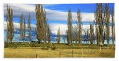Poplars,fence And Grasses Bath Towel