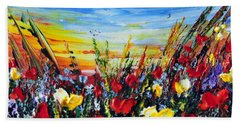 Bath Towel featuring the painting Poppies 4 by Teresa Wegrzyn