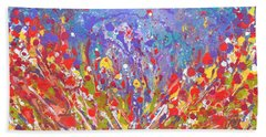 Poppies Abstract Meadow Painting Bath Towel