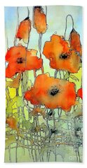 Poppies Abstraction Bath Towel