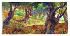 Poppies And Olive Trees,tranquil Grove Bath Towel