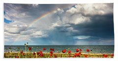 Poppies And Rainbow By The Sea Hand Towel