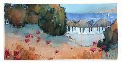 Poppies By The Sea Bath Towel