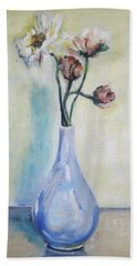 Poppies In A Blue Vase Hand Towel