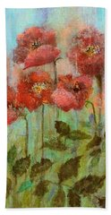 Poppies In Pastel Watercolour Bath Towel