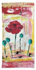 Poppies In The Window Hand Towel