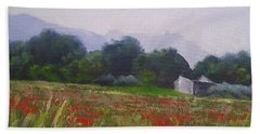 Bath Towel featuring the painting Poppies In Tuscany by Chris Hobel