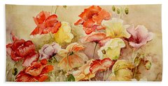Poppies Bath Towel by Marilyn Zalatan
