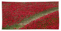 Poppies Of Remembrance Hand Towel by Martin Newman