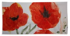 Poppies On Linen Bath Towel