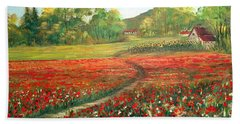 Hand Towel featuring the painting Poppies Time by Dorothy Maier