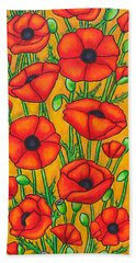Poppies Under The Tuscan Sun Bath Towel