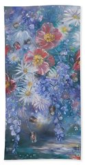 Poppies, Wisteria And Marguerites Hand Towel