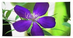 Poppin Purple Flower Hand Towel by Penny Lisowski