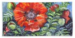 Poppy Brilliance Hand Towel by Carol Wisniewski