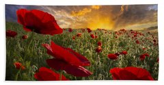 Poppy Field Bath Towel by Debra and Dave Vanderlaan
