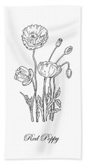 Poppy Flower Botanical Drawing Black And White Hand Towel