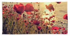 Poppy Flowers At Sunset Bath Towel