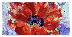 Poppy In Fields Of Lavender Hand Towel by Lynda Cookson