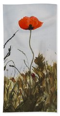 Poppy On The Field Hand Towel