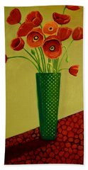 Hand Towel featuring the painting Poppy Power by Nancy Jolley