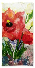 Poppy Profusion Bath Towel by Maria Urso
