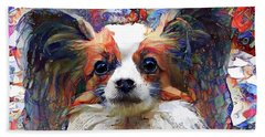 Poppy The Papillon Dog Bath Towel