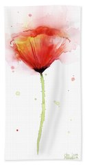 Poppy Watercolor Red Abstract Flower Hand Towel