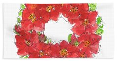 Poppy Wreath Bath Towel