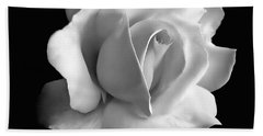 Porcelain Rose Flower Black And White Hand Towel