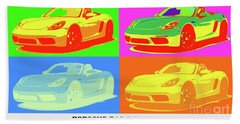Porsche 718 Boxster S, Warhol Style, Office Decor Hand Towel