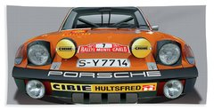 Porsche 914-6 Illustration Bath Towel by Alain Jamar
