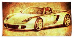 Porsche Golden Artwork, Gift For Men, Men Office Decoration Bath Towel