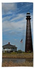 Port Bolivar Lighthouse Bath Towel by Judy Vincent