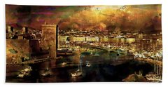 The Old Port Of Marseille Bath Towel