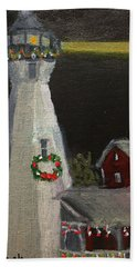 Port Sanilac Lighthouse At Christmas Hand Towel