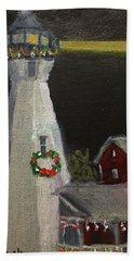 Port Sanilac Lighthouse At Christmas Bath Towel