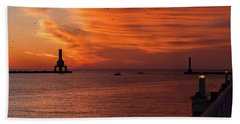 Port Washington Marina Sunrise Hand Towel