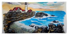 Porthead Lighthouse Maine In Watercolors Bath Towel