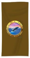 Porthole View Of Breaching Whale Hand Towel by Glenn Holbrook